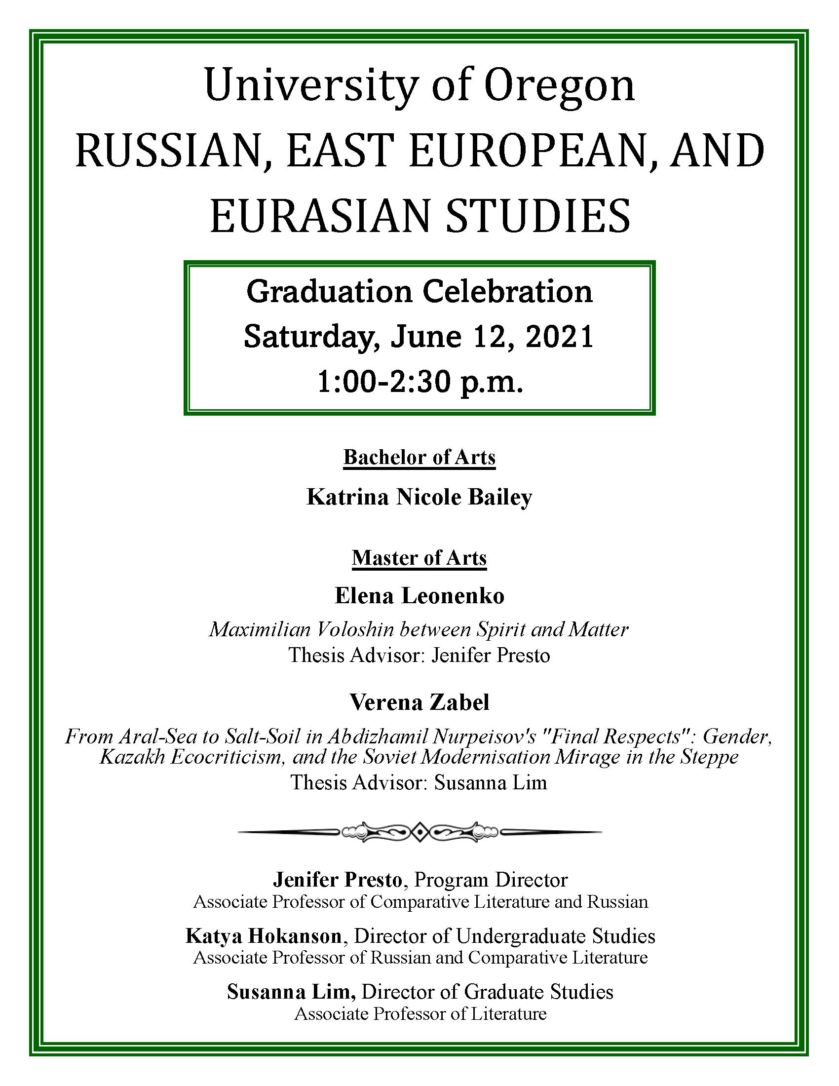 REEES Graduation Celebration Program