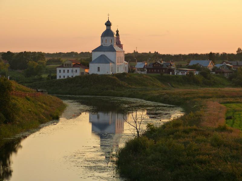 Landscape of church at dusk